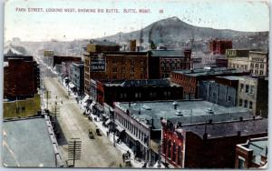 Butte, Montana Postcard PARK STREET, Looking West Big Butte View 1909 Cancel