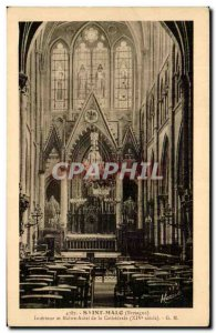 Old Postcard Saint Malo and Interior Altar of the Cathedral