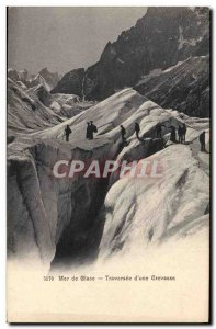 Postcard Old Mountaineering Sea ice Traversee d & # 39A crevice