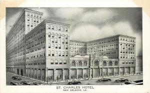 New Orleans LA~Artist Conception~St Charles Hotel~1940s Postcard