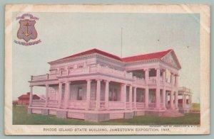 Jamestown Virginia~Jamestown Exposition~R.I. State Bldg~State Seal~Postcard~1907