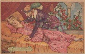 AS: SLEEPING BEAUTY,  20-30s; Prince leans in to kiss princess awake