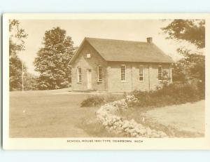 Old rppc SCHOOL HOUSE FROM 1861 ERA Dearborn Michigan MI t2918