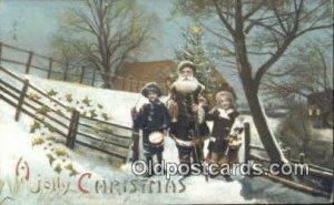 Hold To Light Santa Claus 1909 light wear close to grade 2, postal used 1909