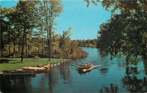 Bellaire Michigan~Boating On Intermediate River~Boats At Dock~1960s Postcard