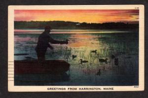 ME Greetings From HARRINGTON MAINE Postcard Duck Decoys Linen PC Hunting