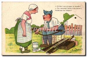 Old Postcard Illustrator Well my little guy working Pahn (miitaire militaria)
