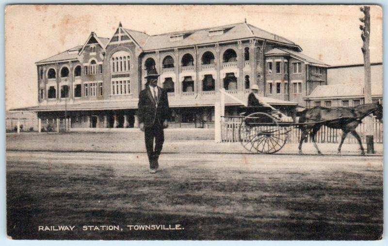 TOWNSVILLE, QUEENSLAND  Australia   RAILWAY STATION  ca 1910s   Postcard