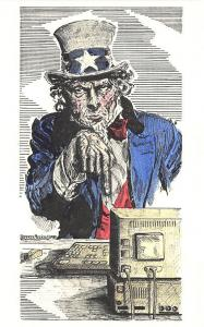 Flying Rabbit Sandy Waters Uncle Sam @ The Computer Jeffrey Mezick 1994 Postcard