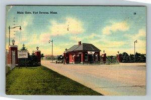 Fort Devens MA-Massachusetts, Main Gate, Linen c1941 Postcard