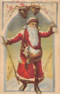 F61/ Santa Claus Merry Christmas Postcard c1920 West Mills Maine Doll Bells 13