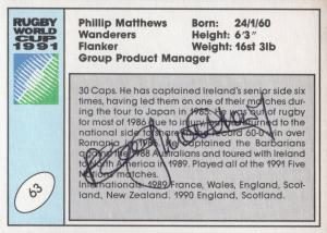 Philippe Saint Andre France Hand Signed Rugby 1991 World Cup Card Photo