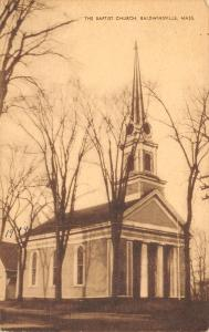 Baldwinsville MA First Baptist Church~Colonial Steeple~Sepia Postcard 1947