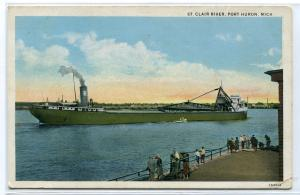 Great Lakes Ore Freighter Steamer Ship Port Huron Michigan 1933 postcard