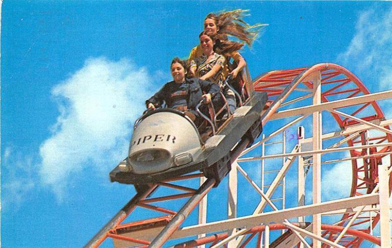 Santa Cruz CA Jet Star Roller Coaster Amusement Postcard