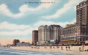 New Jersey Atlantic City Beach Scene Curteich