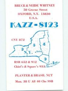 Pre-1980 RADIO CARD - Oxford - Near Norwich & Oneonta & Binghamton NY AH3099