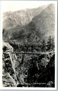 1930s OURAY, Colorado RPPC Real Photo Postcard BOX CANYON BRIDGE Bird's-Eye View