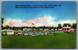 Postcard Savannah GA c1950s Howard Johnson's Motor Lodge Blue Ribbon US Route 17