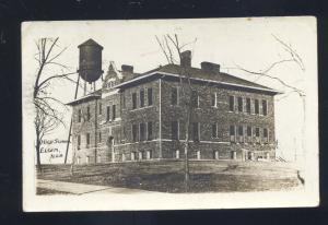 RPPC ELGIN NEBRASKA HIGH SCHOOL BUILDING WATER TOWER OLD REAL PHOTO POSTCARD