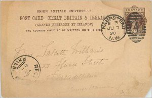 Entier Postal Stationery Postal Great Britain Great Britain 1890 Hampstead to...