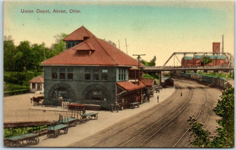 AKRON Ohio Postcard Union Depot Railroad Train Station View HAND-COLORED 1909