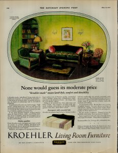 1927 Kroehler Living Room Furniture Moderate Price Vintage Print Ad 3894