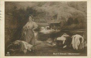 A. Sedilio  Wascherinnen  early art postcard