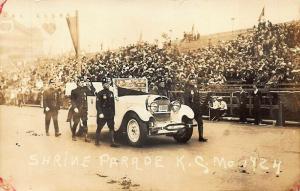 Kansas City MO Shrine Parade Old Car License Plate 1924 Real Photo Postcard