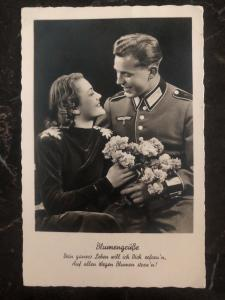 1939 WW2 RPPC Postcard Cover Germany Army Wehrmacht Soldier Photo flowers greet