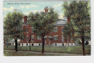 ANTIQUE POSTCARD KANSAS IOLA JEFFERSON SCHOOL HAND-COLORED NEVER POSTALLY USED