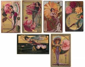 313ef8adac228 Fairy Postcards by C. Ryan with Gold Backgrounds Set of 6 Artist Signed  Repro
