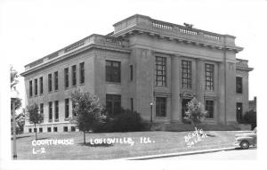Louisville Illinois Court House Exterior Real Photo Antique Postcard K29184