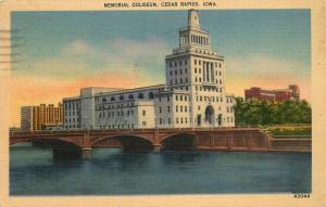 Cedar Rapids, Iowa, IA, Memorial Coliseum, 1939 Linen Vintage Postcard d3069