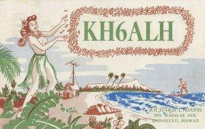 HONOLULU , Hawaii, 1952 ; Topless Hula Girl QSL card