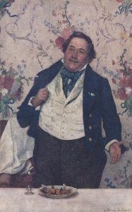 TUCK #2730, 1900-10s; After Dinner Toast, Heavy man standing up at table