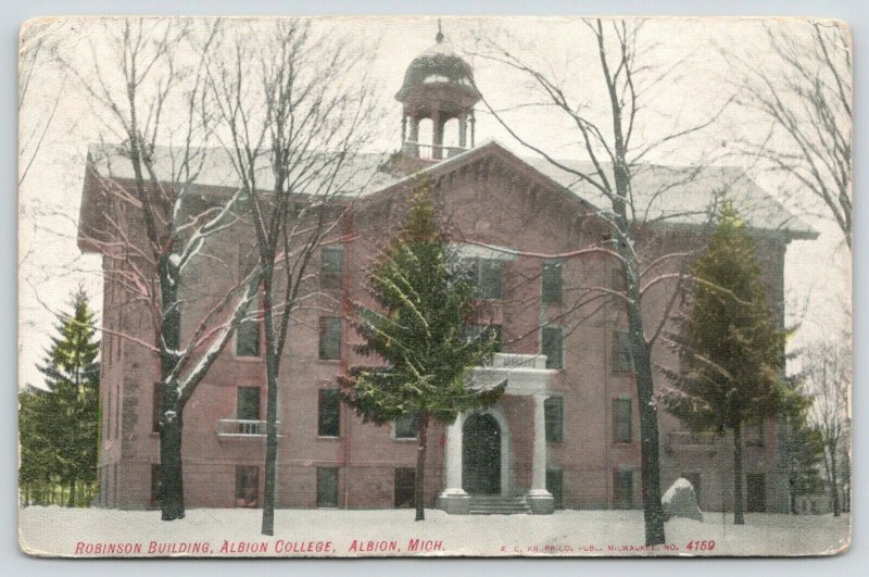 Albion College Michigan~Light Snow Dusts Trees & The Robinson Building~1908 PC