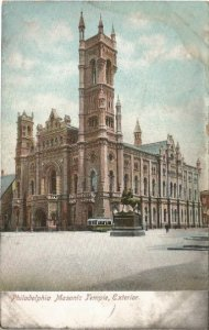 Philadelphia Masonic Temple, Exterior Street Scene with Trolley Vintage Postcard