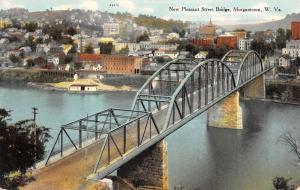 Morgantown West Virginia New Pleasant Street Bridge Antique Postcard K54769