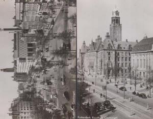 Rotterdam Raadhuis Coolsingel 2x Real Photo Holland Postcard