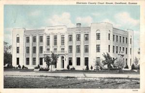Goodland Kansas Sherman Court House Exterior Street View Antique Postcard K13352