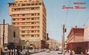NOGALES, Sonora, Mexico, 1950-1960´s; Calle Campillo, Hotel Fray Marcos De Niza,