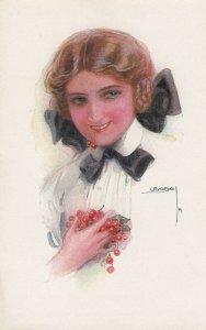 USABOL ; Female Head Portrait , Cherries in hands , 00-10s