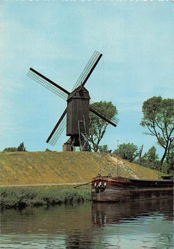 Belgium Bruges The Old Mill, De Schellemolen Le Vieux Moulin River Boat