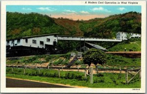 Vintage West Virginia MINING Postcard A Modern Coal Operation Linen 1948