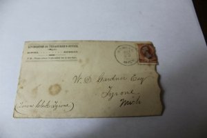 1880's Postmarked Official Howell MI County Treasurer Stationary Cancelled Stamp
