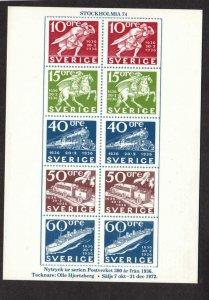 Sverige Facsimiles of postage stamps on front of Postcard Sweden Swedish
