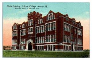 1913 Main Building, Advent College, Aurora, IL Postcard *6A7
