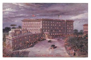 Italy Grand Hotel Suisse Rome at Night Vintage Postcard