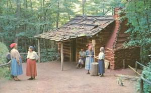 Cherokee Indian Village, Cherokee, NC, unused Postcard